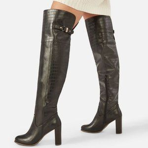 Faux Leather Over the Knee Black Boots Size 6.5